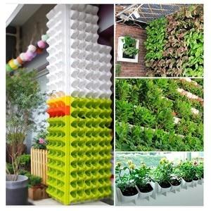 Image 3 - 4 color Stackable Wall Hanging Planter Flower Pot Garden Flower Pots Wall Vertical Succulents Plant Pot Bonsai Green Home Decor