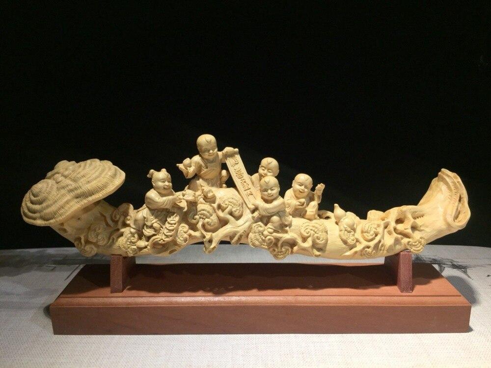 Buis, cyprès, sculpture sur bois, cinq fils, Maitreya, bouddha, objets, rires, ameublement et artisanat.