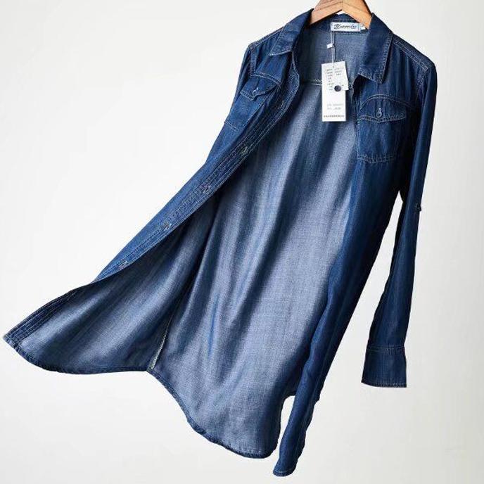 Plus Size 3XL Spring Casual Blouses Women  Fashion Long Sleeve Loose Tencel Denim Cotton Wash Shirts
