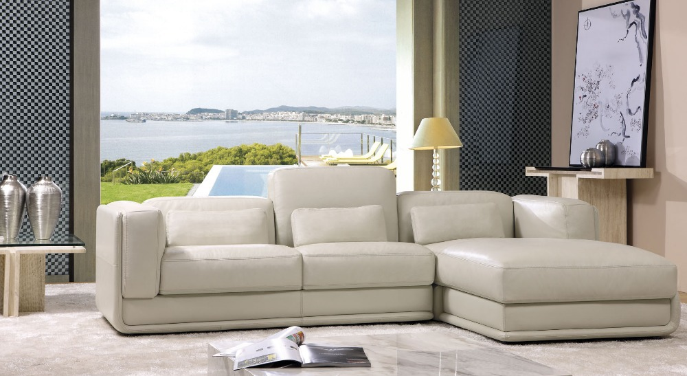Modern sectional l shape genuine real leather sofa top for Sofa en l liquidation