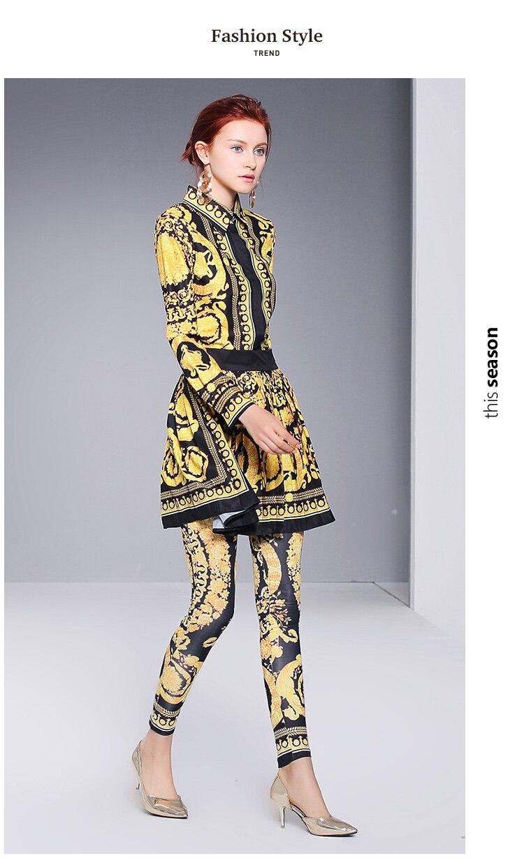 3pcs Jupe Vintage 2xl Pantalon Shirt 3 Femmes Plissée Imprimer Piste Ensembles Automne Tops 2018 Xl Costumes Long Conception Pièces Léopard D'or qt6RWPzp