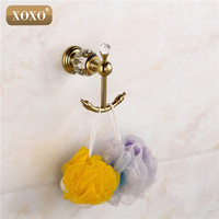 XOXO luxury crystal & brass gold robe hook bathroom hangings gold towel rack clothes hook 12082GS