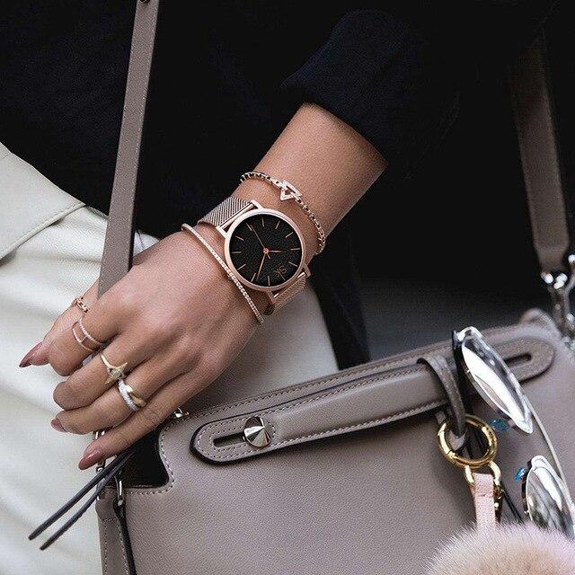 Women's Super Slim Silver Mesh Wrist Watch 5