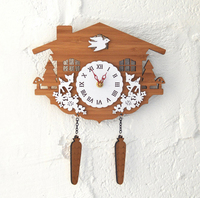 021268 Rural idyll bamboo forest cabin animal cuckoo clocks home sitting room the bedroom adornment wall clock