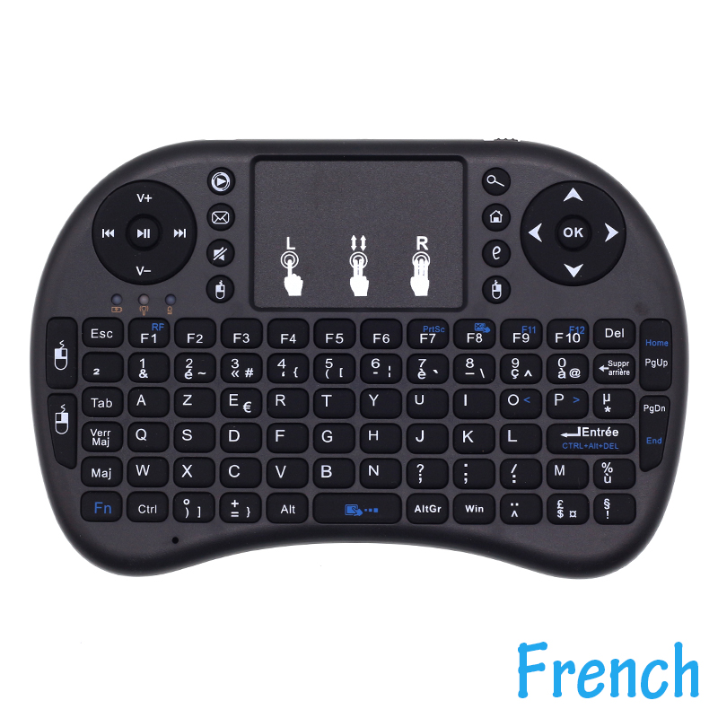 4e3cedfd41b i8 French Keyboard 2.4G Mini Wireless Keyboard for Android TV Box/Mini  PC/Projectors