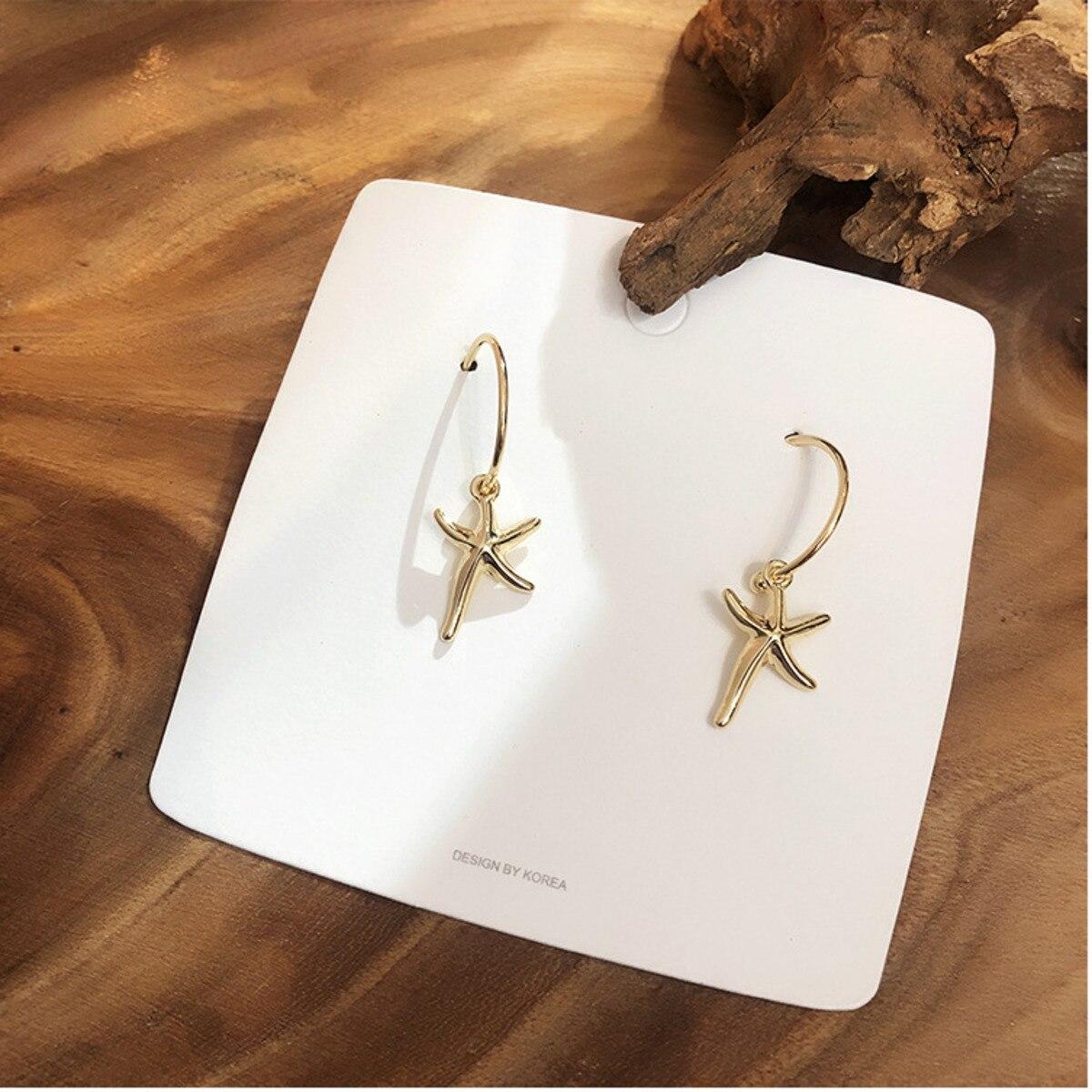 Korea Earrings Bohemian Style Gold Starfish Fashion Women Earrings 2019 High Quality Shell Hoop Earrings Baroque Copper Alloy in Hoop Earrings from Jewelry Accessories