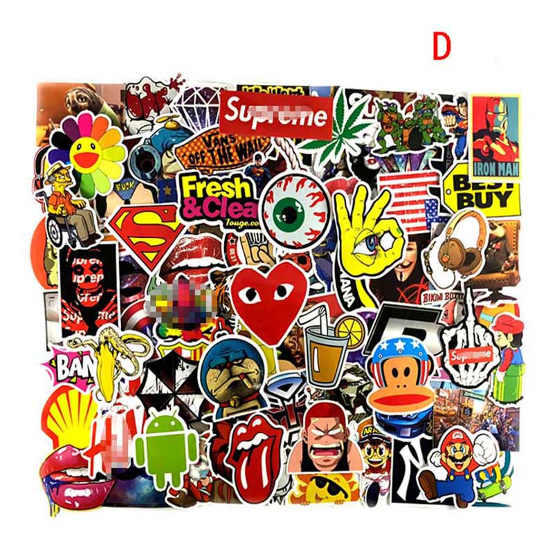 100 PCS Colorful Waterproof Sticker Animal Cartoon Punk Game Stickers for DIY Skateboard Guitar Suitcase Laptop Bicycle Stickers colorful cartoon forest pattern removeable wall stickers