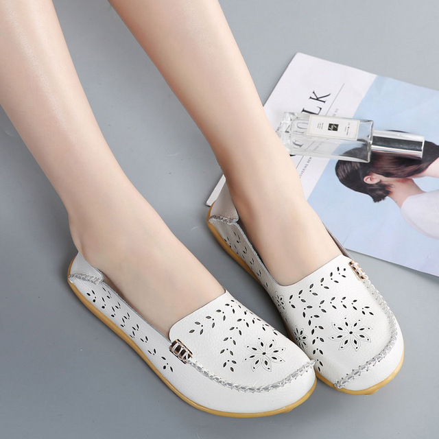 111ddc236 Leather Silver Shoes Women Ballet Flats Loafers Brogues Summer Slip On Moccasins  Ladies Flat Shoes Ballerina Chaussures Femme