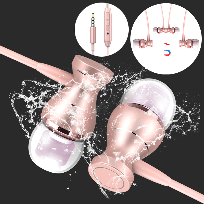 In-Ear Earphone Headset In-line Control Magnetic Clarity Stereo Sound With Mic Earphones For iPhone Mobile Phone MP3 MP4 ufo pro metal in ear earphones treadmill female drug sing karaoke audio headset diy mobile phone
