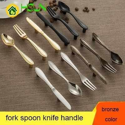 Фото Античная бронза комод тянет нож ложка Вилка кухня кабиент ручки для открывания