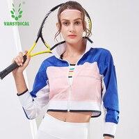 Vansydical Running Jacket Women Sport Jacket Women Long Sleeve Yoga Jacket Breathable Yoga Top Sport Shirt Women