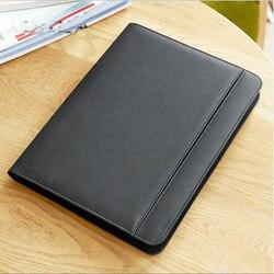 Multifuctional zipper business leder datei ordner A4 dokument tasche organizer padfolio aktentasche mit ipad iphone stehen 1105A
