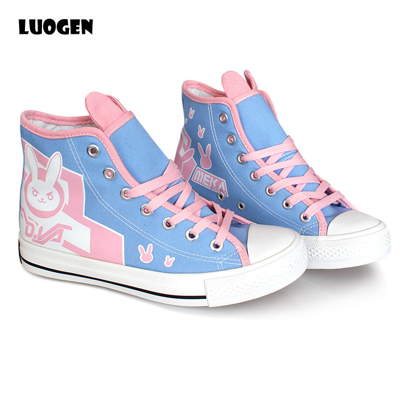 Cosplay Anime OW D va Printing Shoes Woman Canvas Casual Shoes Plimsolls 2018