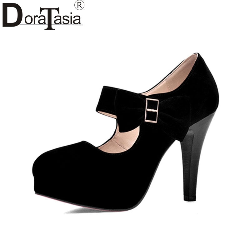 DoraTasia Round Toe Platform Woman Pumps Big size 32-42 Women Mary Jane Sweet Bow tie Party Wedding Shoes 2016 Sexy High Heels 60kg 132lb 400mm force 160mm long stroke auto gas spring hood lift support 400 160mm central distance m8 gas springs in springs