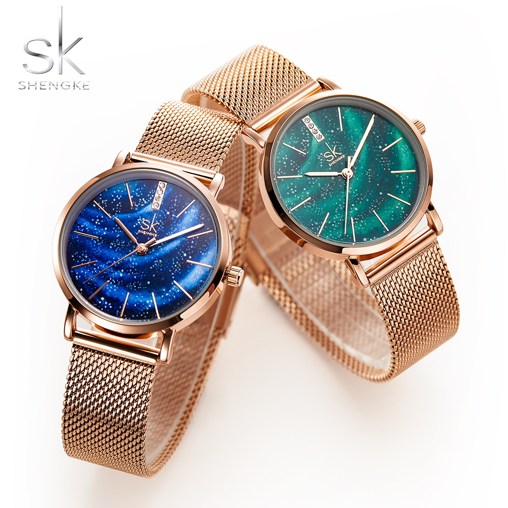 shengke-women-watches-starry-green-dial-reloj-mujerladies-wristwatch-ultra-thin-stainless-steel-strap-quartz-montre-femme-gift