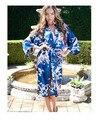 De la vendimia de Seda Japonesa del Geisha Kimono Robe Pavo Real y de la Flor de Noche Vestido de Pijamas, 7 colores disponibles Envío Gratis