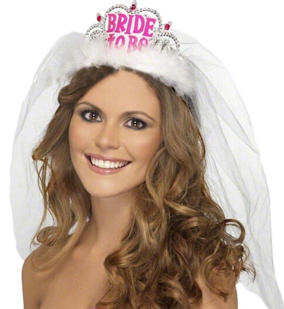 Bridal tiaras and veils - 1 Set Bride To Be Crown Tiara Lace Veil Wedding Bridal Shower Girls Night Out Hen
