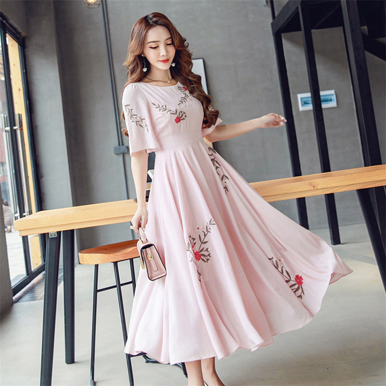 New High Quality Explosions Leisure Party Dresses Women Patchwork embroidery Spring summer Casual Shirt Dress