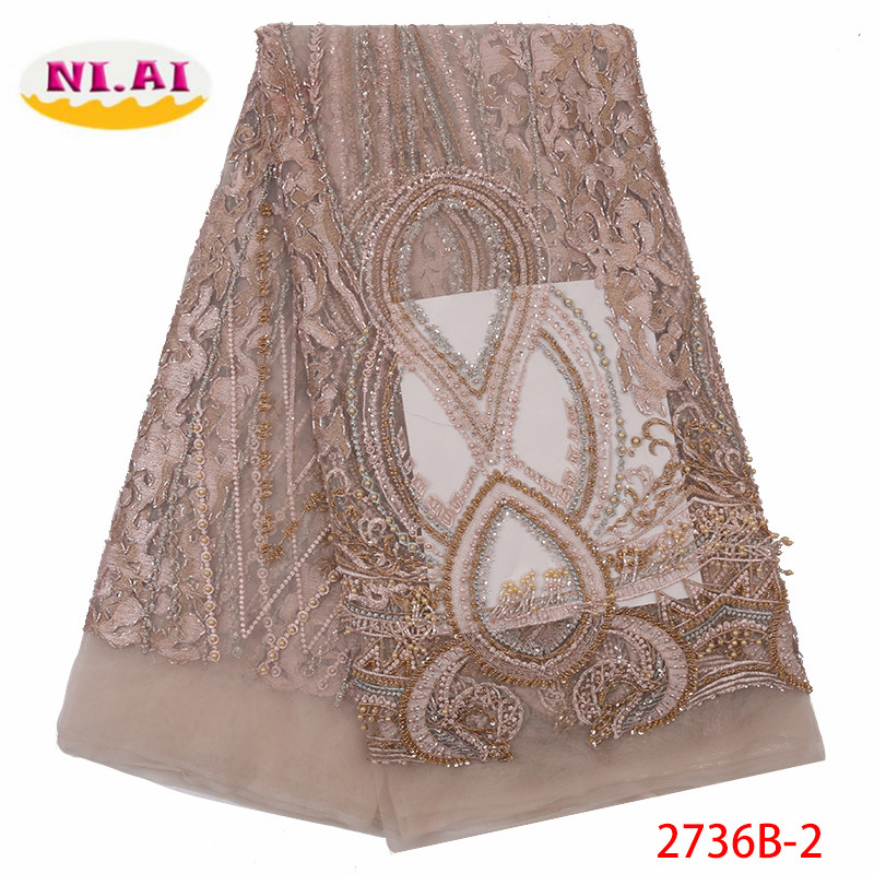 Handmade Lace African Beaded Lace Fabric 2019 High Quality Lace Material Nigerian French Lace Fabric For Wedding Dress XY2736B 2