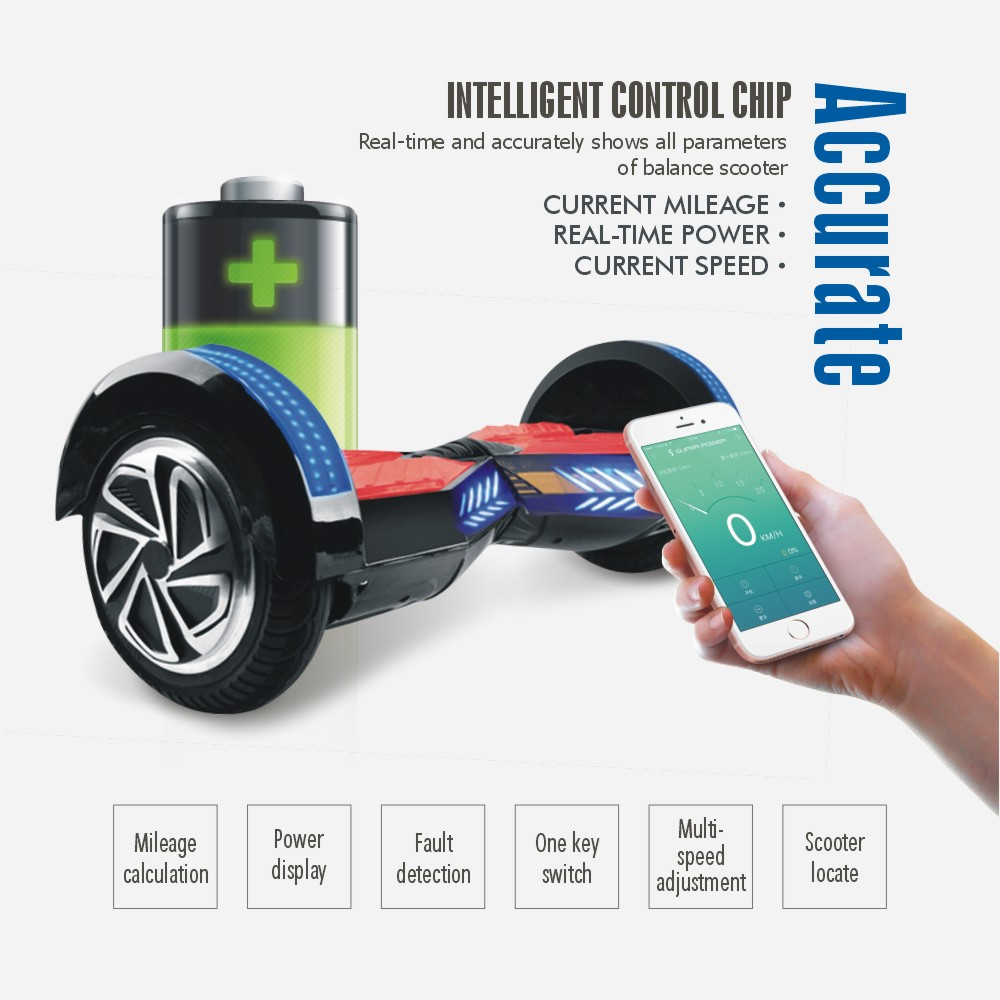 with mobile app 8 inch hoverboard bluetooth electric wheel scooter unicycle skateboard drift. Black Bedroom Furniture Sets. Home Design Ideas
