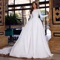 Liyuke Scoop Neckline Of Elegant Satin A Line Wedding Dress With Slip Side Of Full Sleeve Count Train Wedding Gown
