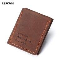 Leacool 2017 Original handmade Chính Hãng Leather Wallet Vintage Các Bí Mật Cuộc Sống Của Walter Mitty Da Bò Leather Purse Wallet