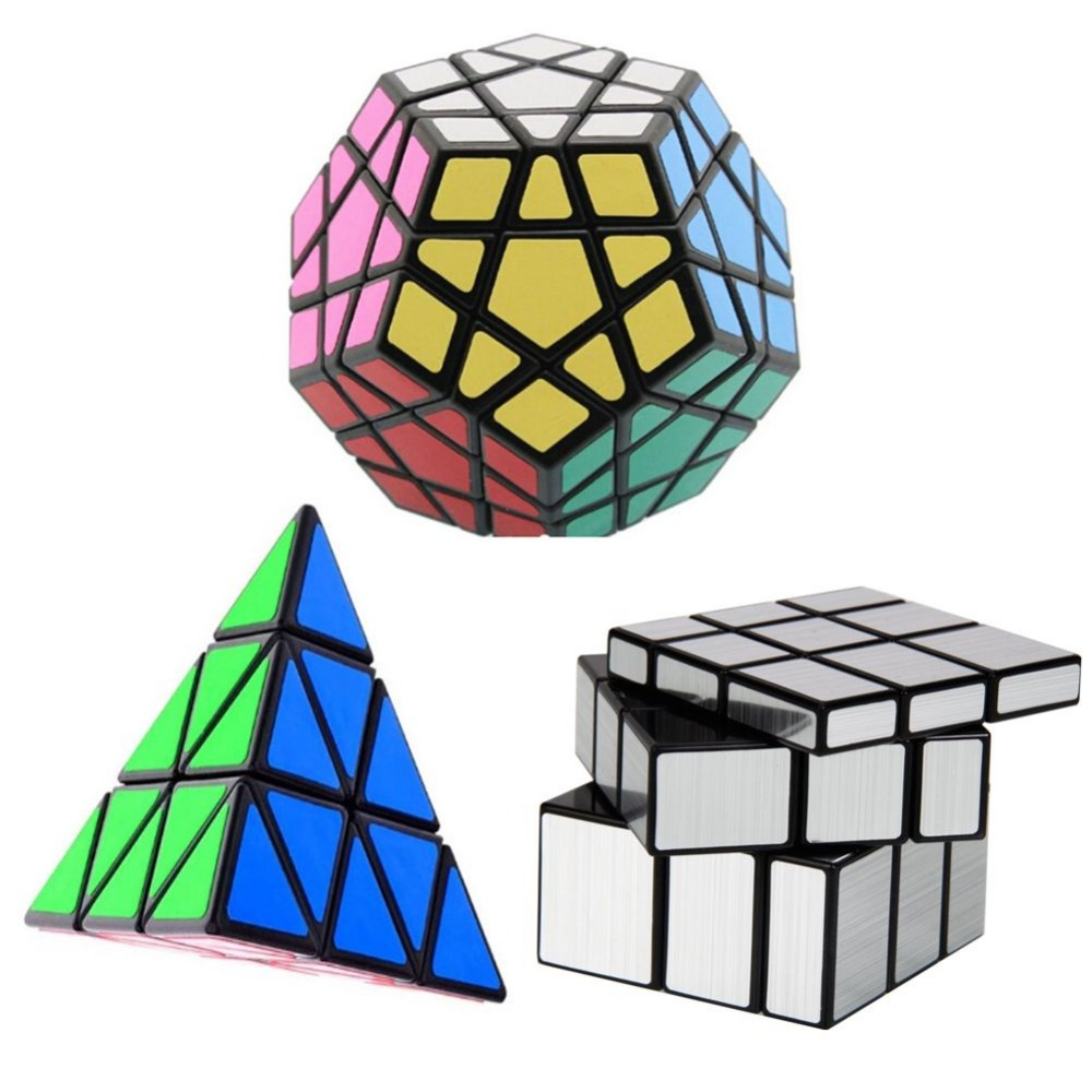 3PCS lot Magic Cube Puzzle Dodecahedron Megaminx Triangle Pyramid Pyraminx 3 Layer Profiled Magic Cube Hot