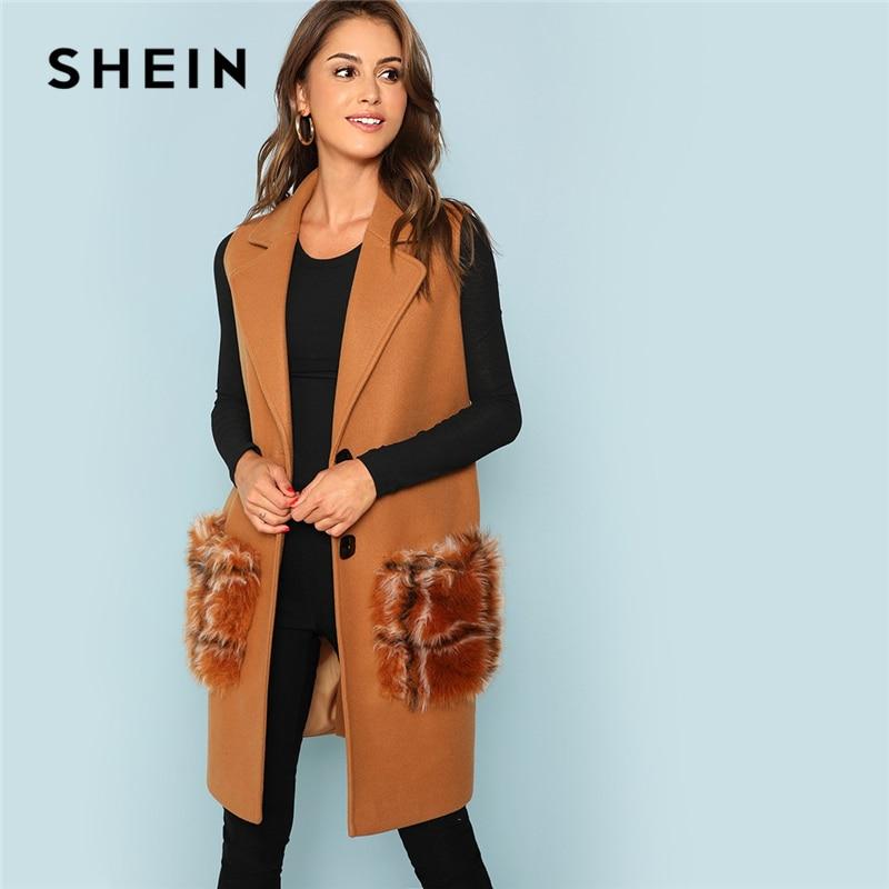 SHEIN Khaki Elegant Modern Lady Exaggerate Collar Sleeveless Duffle Coat 2018 Autumn Weekend Casual Women Coat And Outerwear