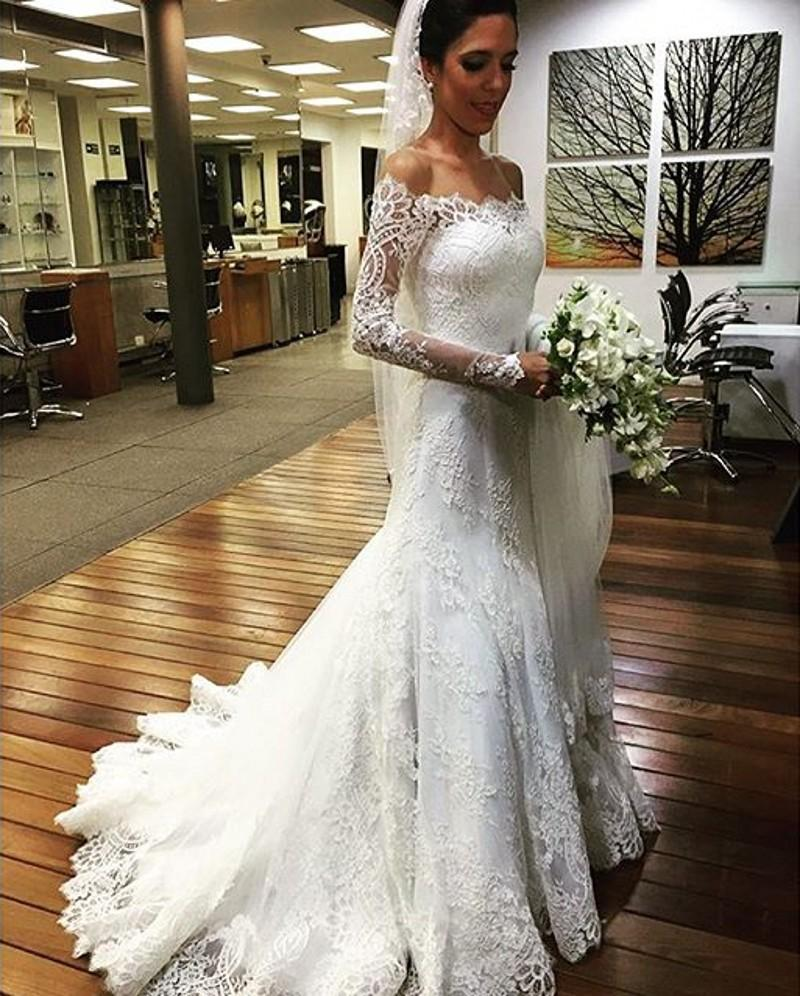 Straight Off the Shoulder Long Sleeve Wedding Dresses