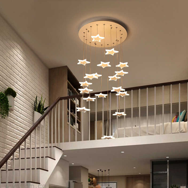 Stair Lobby Duplex Building Aisle Modern Simple Round Creative Stair Light  Long Pendant Lights Deco Pendant Hanging Lamp