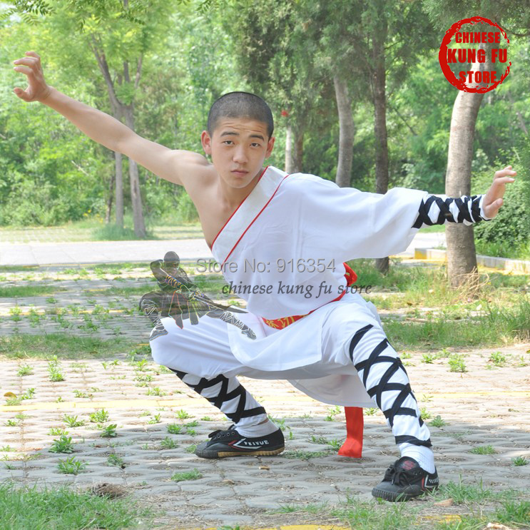 White One Sleeve Shaolin Monk Kung fu Suit Martial arts Tai chi Wing Chun Karate Uniform Wushu Training Clothes master recommend movement triangle frame wing chun wooden dummy donnie ye used standard kung fu wooden dummy martial arts