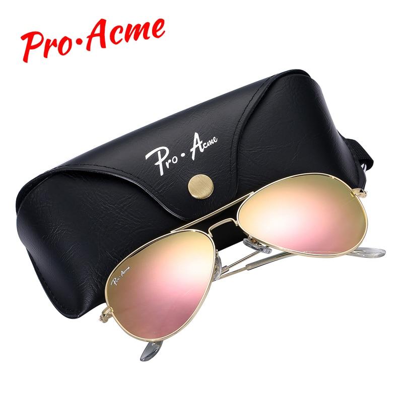 Pro Acme Topkwaliteit kristalglas spiegellens Grote metalen piloot zonnebril Dames Heren Merk Designer met etui PA0325