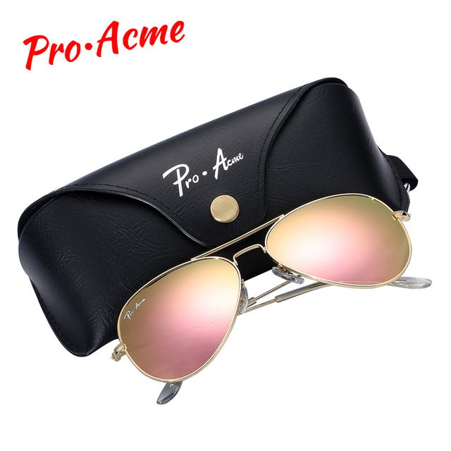 e1d13bd424f8 Pro Acme Top quality Crystal Glass Mirror Lens Large Metal Pilot Sunglasses  Women Men Brand Designer with Case PA0325