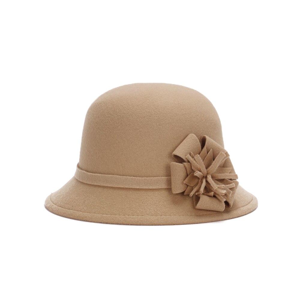 Vogue Для женщин флоппи цветы шляпа Имитация шерсти, с цветочным рисунком, на возраст от котелок шапка, сезон осень-зима; женские свадебные шляпы для принцессы держать femme Кепка с покрывалом - Цвет: camel