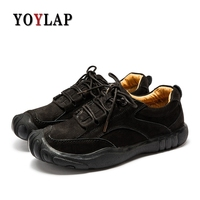 2018 New Genuine Leather Mens Shoes Casual Lace Up Men Shoes Leather Moccasins Boat Shoes Black