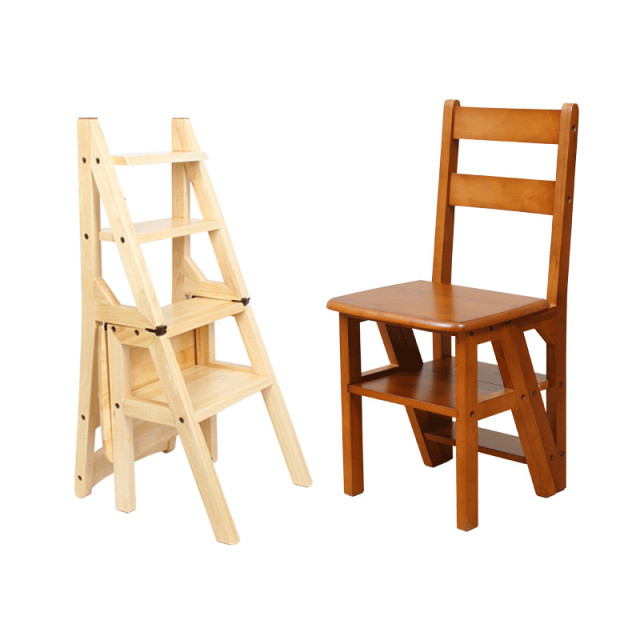 Wooden Folding Library Ladder Chair Kitchen Furniture Step Ladder School  Convertible Ladder Chair Step Stool Natural