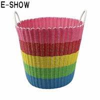 Large Dual Handles Plastic Hand Woven Storage Basket Toys Clothes Sundries Baskets Organizer Colorful