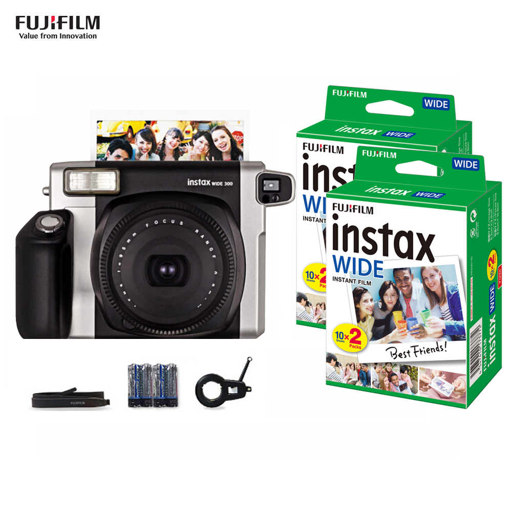 Fujifilm Instax WIDE300 Camera Instant Film Wide Picture Format with Battery Wrist Strap 40 Sheets 86x108mm