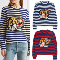 Casual Harajuku Boho Designer Runway Tiger Embroidery Knitwear Striped Thick Wool Sweater Women Autumn Winter Pullover Sweater