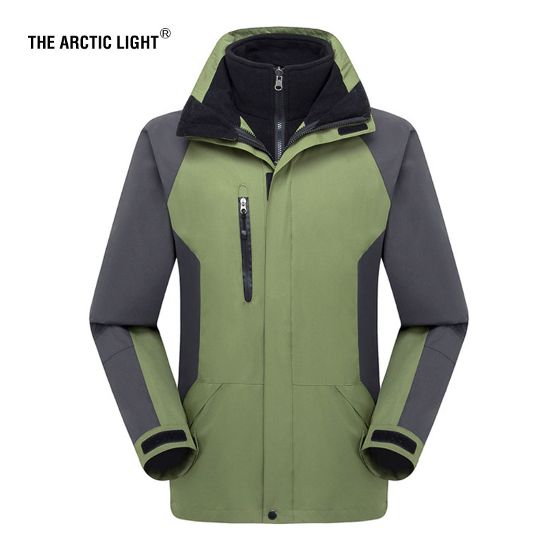 THE ARCTIC LIGHT Hiking Jacket Ski Winter Outdoor Sport Windproof Waterproof Jacket Men Thermal Soft shell Fleece Jacket 2 In 1 detector men ski jacket hight waterproof mountain hiking camping jacket fleece hight windproof ski jacket