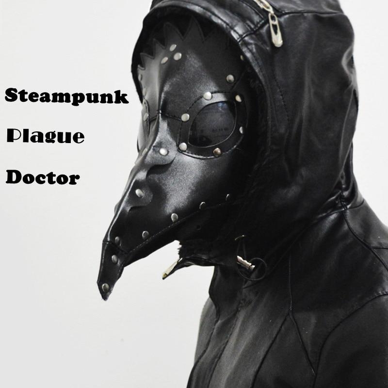 Dr. Beulenpest Steampunk Plague Doktor Maska Zobák Masky Steampunk Černá PU Ptáci Halloween Umění cosplay Karneval Kostým muži