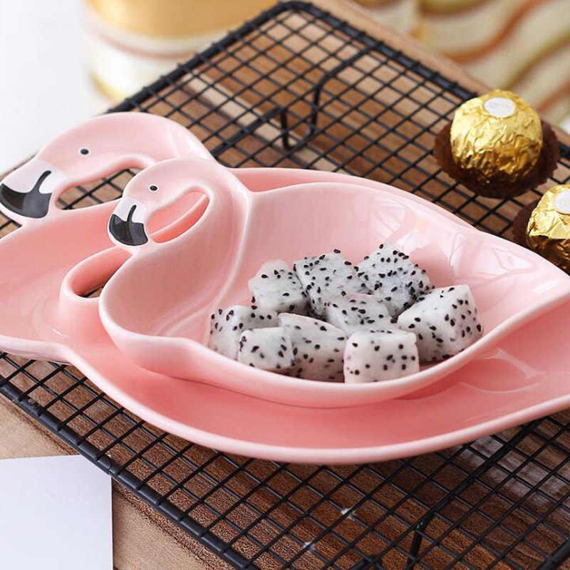 Flamingo decoração rosa 3d placa de cerâmica lanches pratos frutas secas tigela sobremesa pratos festa diy supplie