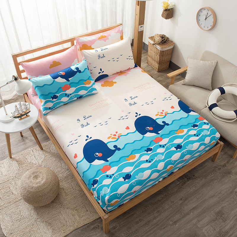 Cartoon Ocean Dream Children Bed Fitted Sheet Protector Mattress Cover 100% Cotton Elastic Band Round Bedding