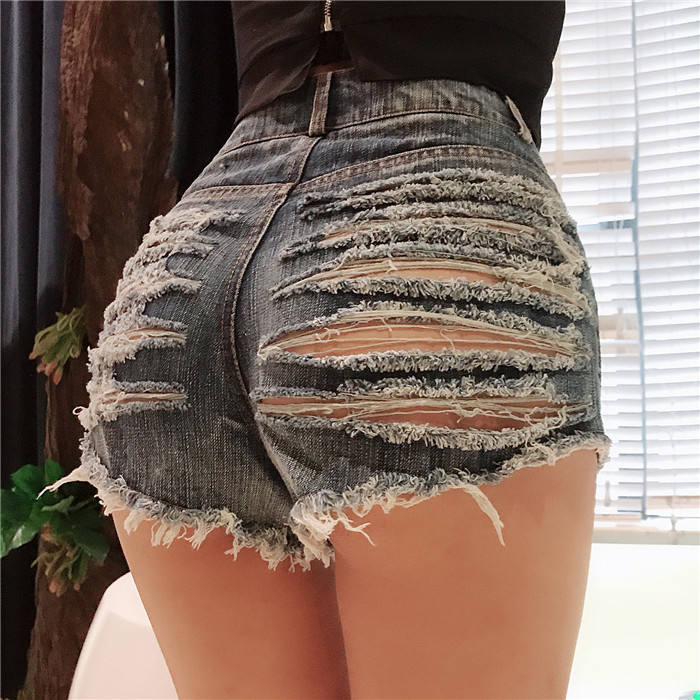 HOT!!! SALE! 2018 Summer New Fashion Women Shorts High Waist Hollow Out Ripped Short   Jeans   Super Sexy Mini   Jeans   Club Pants