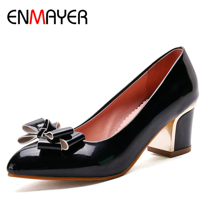 ENMAYERW Spring Autumn Women Pumps Shoes Bow Tie Pointed Toe Slip-On Square Heel Large Size 34-43 Pink Red White Black  2017 women lady shoes flat heel spring autumn boat pointed toe slip on casual simple mixed color pink yellow blue black red