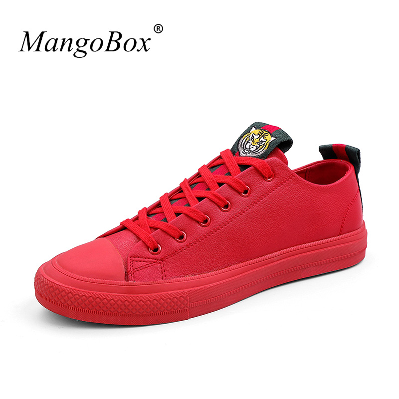 Shoes For Men Rubber Soles Male Casual Shoes Red Black Youth Fashion Men's Sneakers Luxury Brand Men Flats Footwear Pu Leather