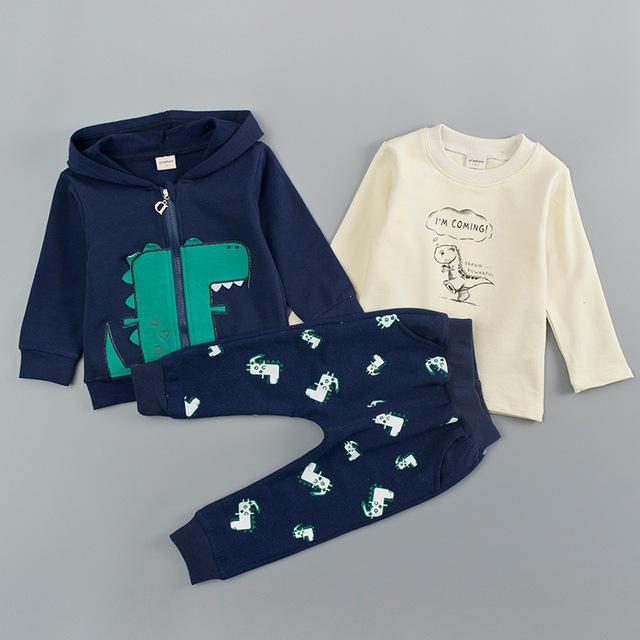 3-Pieces Cartoon Dinosaur Logo Design Top with Coat and Pants Set for Baby / Toddler Boy