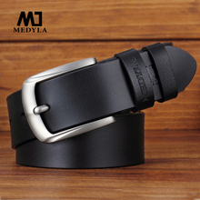 MEDYLA Belts For Men Cowhide Genuine Leather Man's Belt High Quality Alloy Pin Buckle Jeans Leisure Business Male Strap MD12
