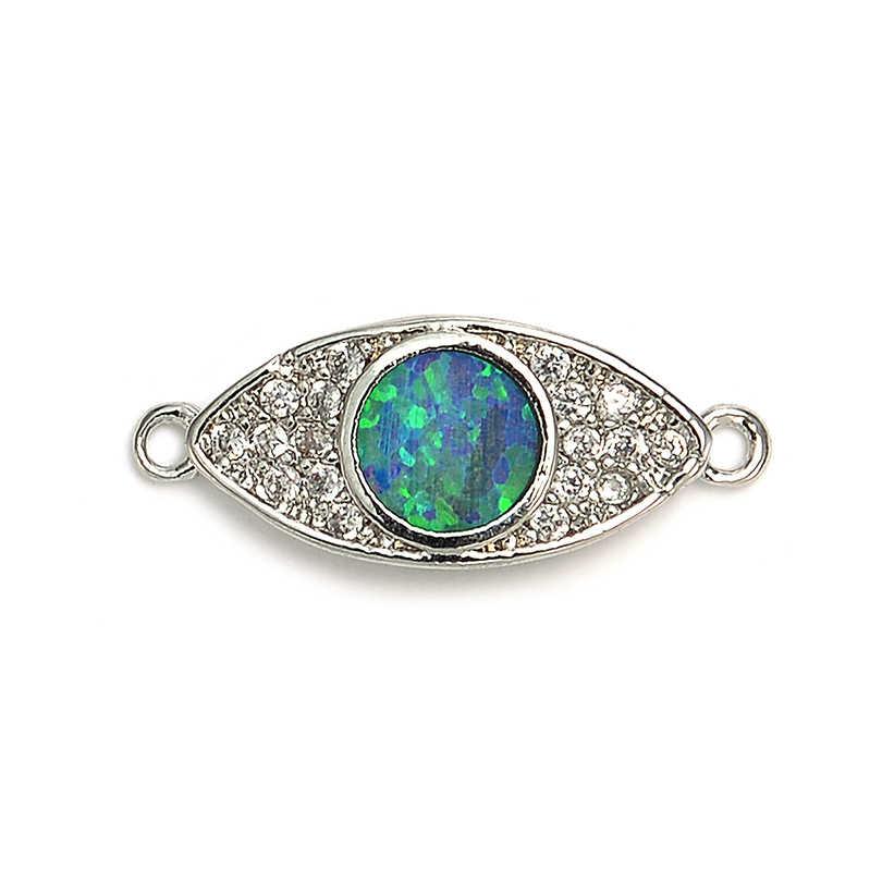 Pipitree גדול עגול כחול אש אופל קסם ברור זירקון סגלגל קסמי להכנת תכשיטים נשים גברים צמידי שרשראות DIY בעבודת יד