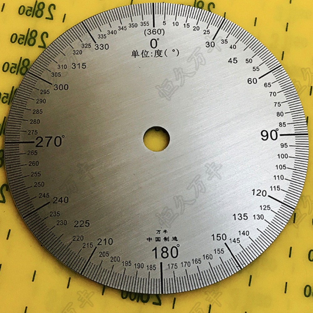 Diameter:90mm inner hole:8mm thickness:2mm  360 degree   Stainless steel dial scale disc